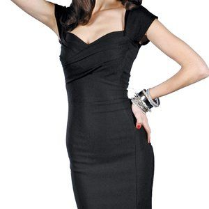 STOP STARING! Mad Style Fitted Dress Black